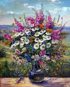 "Photo from album ""Полевые цветы"" on Yandex. Flower Painting Canvas, Oil Painting Flowers, Diy Painting, Painting Frames, Canvas Art, Flower Frame, Flower Art, Cool Paintings, Watercolor Paintings"