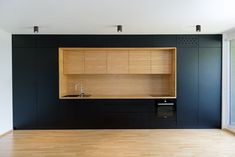 Black line apartment / Arhitrktura d.o.o Stunning matte black and timber kitchen