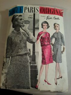 VOGUE PARIS ORIGINAL PATTERN by PIERRE CARDIN 1142 SUIT -  SIZE 10- CUT  RARE