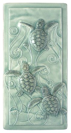 Home decor art tile Magic in the Water baby sea turtles