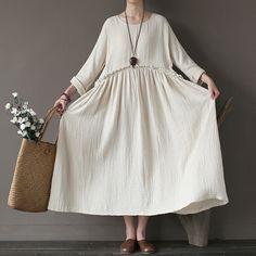 Vintage Plain A-Line Cotton Dress – Eva Trends