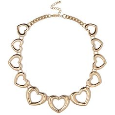 Gold tone repeat cut out heart necklace with clasp fastening and adjustable length.