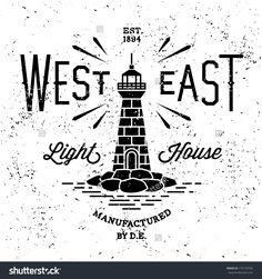 """Vintage Label """"West East Lighthouse"""" Stock Vector Illustration 176159702…"""