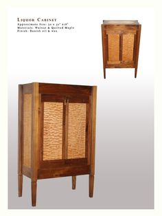 This liquor cabinet is made from black walnut with quilted veneer applied to glass door panels. The unit has lights on the interior that shin through … Mid Century Bar Cabinet, Liquor Glasses, Panel Doors, Wood Boxes, Glass Door, Liquor Cabinet, Magazine Rack, Sweet Home, Woodworking
