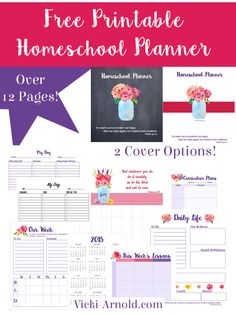 Free Printable Homeschool Planner - over 12 pages with 2 cover options