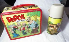 Popeye Vintage Lunch Box & Thermos (Old 1964 Antique Lunchbox, Aladdin Glass Lined Thermos, Olive Oyl, Brutus)