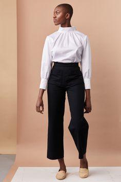 REVERSE TROUSER - black — BONESET STUDIO Work Trousers, Trousers Women, Teacher Outfits, Fabric Material, Work Wear, Fitness Models, Tights, Feminine, Studio
