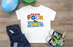 Planning a Birthday party for your Four year old? Do it in style with this Reach Four the Sky toy story woody Birthday shirt.This shirt is sublimated not vinyl Polyester Cotton Woody Birthday, 2nd Birthday Party For Boys, Toy Story Birthday, 4th Birthday, Birthday Ideas, Birthday Stuff, Disneyland Birthday, Disney Birthday Shirt, Birthday Shirts