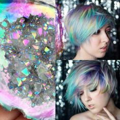 Move over, Mermaid hair. The geode hair trends uses dazzling, iridescent crystals as the source for brilliant hair color inspiration. Hair Dye Colors, Cool Hair Color, Pelo Multicolor, Natural Hair Styles, Short Hair Styles, Dip Dye Hair, Neon Hair, Hair Shows, Good Hair Day