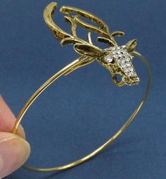 18K gold plated bangle with Antique bronze deer by artstudio88