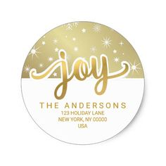 Christmas Joy Gold Handwritten Return Address Classic Round Sticker - click/tap to personalize and buy Modern Christmas, Christmas And New Year, Christmas Themes, Christmas Sale, Christmas Crafts, Stickers Online, Round Stickers, Return Address Stickers, Christmas Stationery