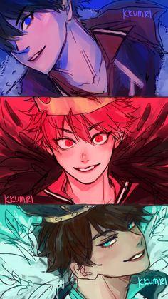 "my three kings"" Haikyuu Funny, Haikyuu Fanart, Haikyuu Anime, Comic Anime, Manga Anime, Anime Art, Girls Anime, Anime Guys, Haikyuu Characters"