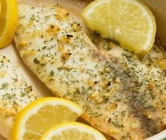 Lemon Garlic Tilapia- We would use fresh caught Striper!!  I also cook my garlic in the butter first.