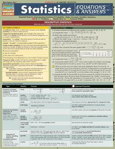 Pre-Calculus: Equations & Answers Laminated Study Guide - BarCharts Publishing Inc makers of QuickStudy Microsoft Excel, Statistics Math, Statistics Cheat Sheet, Statistics Symbols, Math Formulas, Math Help, Good Student, Research Methods, Calculus