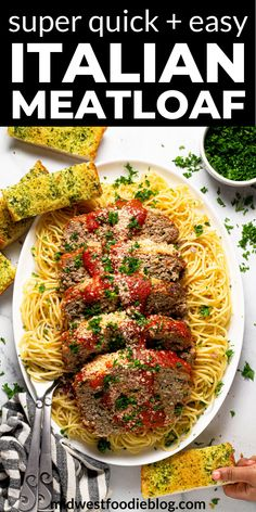 dinner recipes for family main dishes This tender, juicy Italian meatloaf recipe takes just 10 minutes to prepare and tastes delicious served over al dente spaghetti Cheesy Meatloaf, Italian Meatloaf, Meatloaf Recipes, Beef Recipes, Shrimp Recipes, Pasta Recipes, Yummy Recipes, Salad Recipes, Yummy Food
