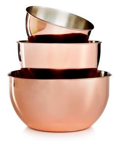 Martha Stewart Collection 3-Pc. Copper-Plated Mixing Bowl Set, Only at Macy's  - Gold