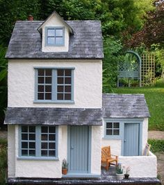 """This is 'Sea View"""" a just completed scale seaside cottage built for a customer who saw my earlier versions of this house on my blo. Fairy Houses, Play Houses, Doll Houses, Miniature Houses, Diy Dollhouse, Small World, Little Houses, Tiny House, Cottage"""