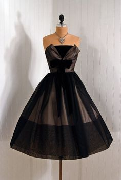 1950's Strapless Cocktail Dress