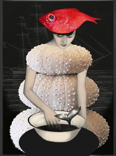 illustration - Daria Petrilli - Un chapeau de poisson - CoDesign Magazine Collage Kunst, Collage Art, Collage Ideas, Daria Petrilli, Photo Illusion, Matthieu Bourel, Eugenia Loli, Photocollage, Art Textile