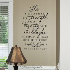 Wall Decal  She is clothed in strength and by OldBarnRescueCompany