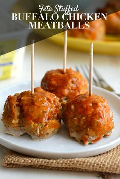 Serve these cheesy Feta Stuffed Buffalo Chicken Meatballs on game-day for a flavorful appetizer in under 30 minutes!