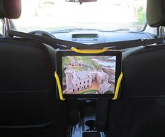 Universal tablet holder design for in-car, rear-seat entertainment
