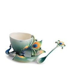 Franz Collection Peacock Splendor Cup & Saucer with Spoon