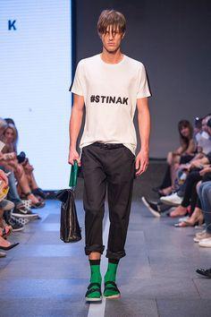 #hashtag #stinak #isolation #tshirt #greensocks #male #model #mbpfw #prague #fashion #weekend