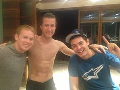 Kasey Kahne in the middle. Not sure why he he shirtless, but I'll take that :)