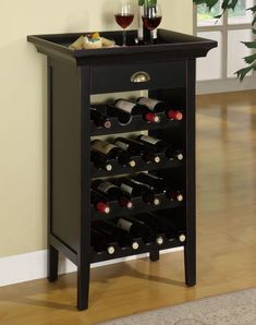 Contemporary Black Wine Cabinet by Powell