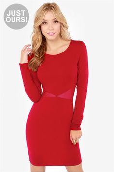 For Courtney's wedding??  LULUS Exclusive Cute Be Told Wine Red Dress at Lulus.com!