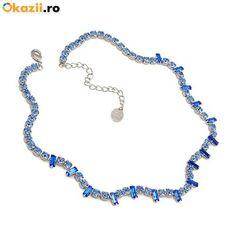 Carla Brillanti saphire necklace with Swarovski elements Swarovski, Beaded Necklace, Pendant Necklace, Round Cut Diamond, Jewelry Box, Classy, Jewels, Model, Wedding