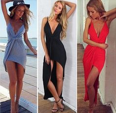 Sexy Open Backless Strap Plunge Vneck Twisted High Low Bodycon Club Long Dress R #BellyAnna #AsymmetricalHem #Casual