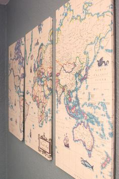 vintage map DIY decoupage Mod Podge wall decor