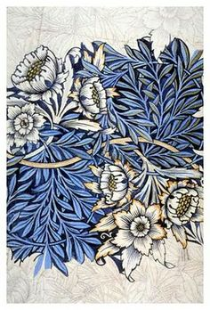 William Morris - 'Tulip and Willow' Pencil and Watercolour sketch for print design, 1873