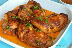 Pulpe de pui cu sos de rosii (9) Romanian Recipes, Romanian Food, Tandoori Chicken, Chicken Wings, Chicken Recipes, Finger, Foods, Meat, Ethnic Recipes