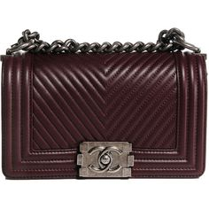 CHANEL Calfskin Chevron Quilted Small Boy Flap Burgundy ❤ liked on Polyvore featuring bags, handbags, shoulder bags, bolsas, purses, hand bags, quilted purses, man bag, brown handbags and quilted shoulder bag
