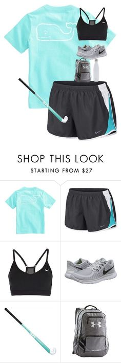 """field hockey starts soon!!!!!"" by kendallmichele ❤ liked on Polyvore featuring Vineyard Vines, NIKE, Under Armour and S'well"