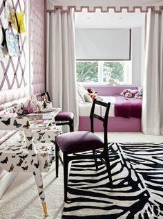 Monday's P.O.P. /Girls room/ zebra, butterflies, purple, tufted wall
