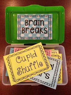 Store your Brain Breaks inside of a pencil box. It doesn't t… BRAIN BREAKS! Store your Brain Breaks inside of a pencil box. It doesn't take up much space, and students will be so excited when they see you pull out the Brain Break Box! 5th Grade Classroom, Future Classroom, School Classroom, Classroom Activities, Classroom Decor, Classroom Storage Ideas, Year 3 Classroom Ideas, Teacher Storage, Kindergarten Classroom Organization