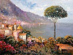 Italian painting Ravello seascape Mediterranean Sea di Modiarte