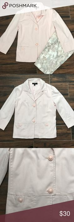 """⬇️5/15 only! ⬇️ Talbots pale pink spring jacket Pretty pale pink color is perfect for spring! Lightweight jacket has some stretch and is fully lined. Dual front pockets with button closure.  Size 8 3/4 sleeves Bust 19"""" Length 23""""  Machine washable (or dry clean if preferred). Talbots Jackets & Coats"""