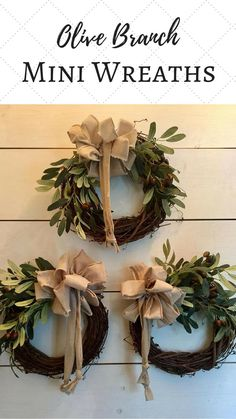 I love this set of mini wreaths! Olive branches are a symbol of peace. We all love a peaceful home. Each wreath is accented with an oatmeal, homespun floppy bow to complete the rustic, farmhouse look. #miniwreaths #olivebranchminiwreath #wreath #berrywreath #ad #farmhouse #farnhousedecor #farmhousewreath