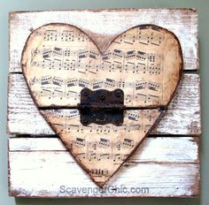 Wood Pallets Ideas Valentine wooden heart -Pallet wood, vintage sheet music and rusty junk upcycle Vintage Sheet Music, Vintage Sheets, Heart Projects, Wood Projects, Valentine Decorations, Valentine Crafts, Wood Pallets, Pallet Wood, Wood Wood