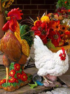 Chickens Rooster Art Decor in Garden