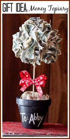 hoiw to make a money topiary tree gift - - I LOVE this idea - be crafty, but they still get what they want (cash) - - step by step tutorial instructiosn - Sugar Bee Crafts as a gifts Creative Money Gifts, Cool Gifts, Diy Gifts, Gift Money, Money Cake, Money Lei, Holiday Gifts, Christmas Gifts, Diy Cadeau