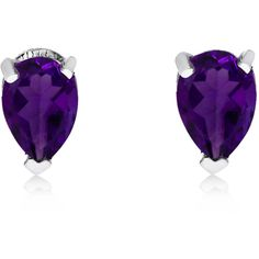 14K White Gold Amethyst Pear-Shaped Earrings (£88) ❤ liked on Polyvore featuring jewelry, earrings, white gold amethyst earrings, amethyst jewelry, 14k jewelry, amethyst jewellery and amethyst earrings