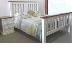 AVALON-TIMBER-QUEEN-BED-FRAME-ONLY-IN-WHITE-WITH-TEAK-TOPS Timber Panelling, Panel Bed, Queen Beds, Bed Frame, Teak, Furniture, Home Decor, Homemade Home Decor, Bed Base