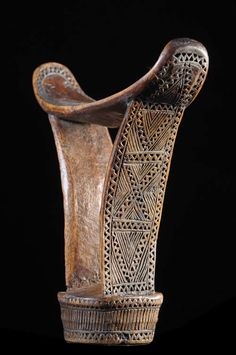Africa | Carved hardwood Headrest from the Boni people of  Somalia | ca. 1970