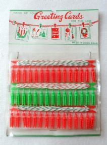 Vintage Christmas Decorations Washing Line Type String & Clip Greeting Cards On the Line Hangers 1960s 1970s Hong Kong Holds 45 Cards #FollowVintage